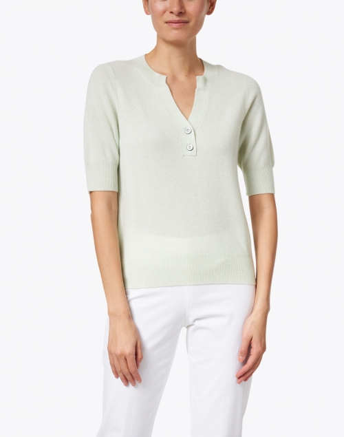 Repeat Cashmere - Mint Green Cashmere Henley Sweater