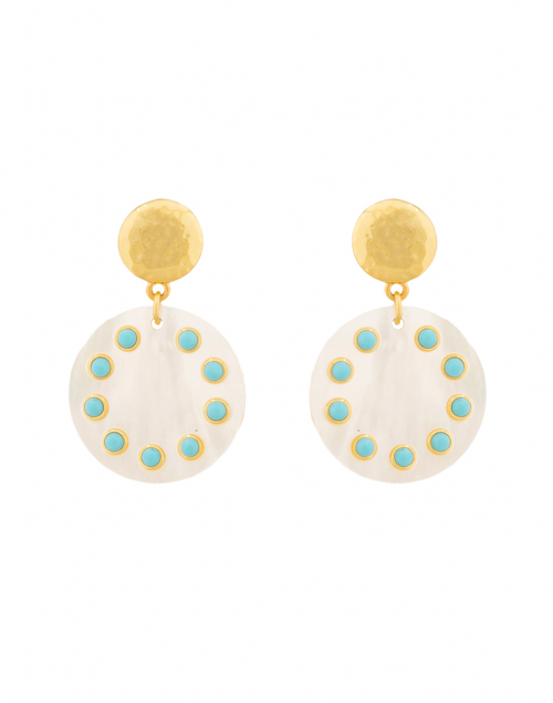Nest Turquoise and Mother of Pearl Drop Earrings