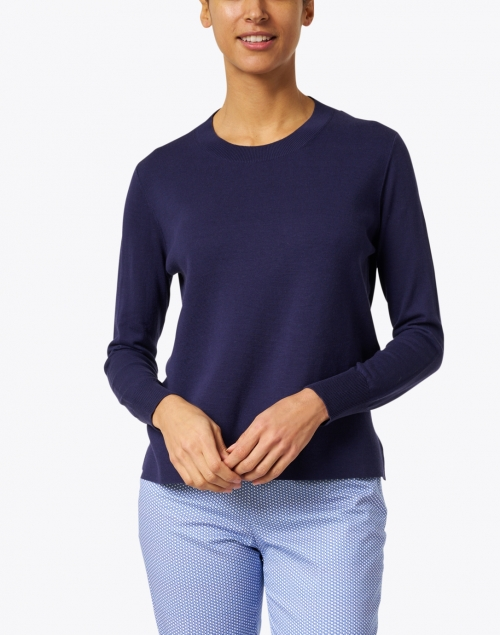 Allude - Navy Silk and Cotton Sweater