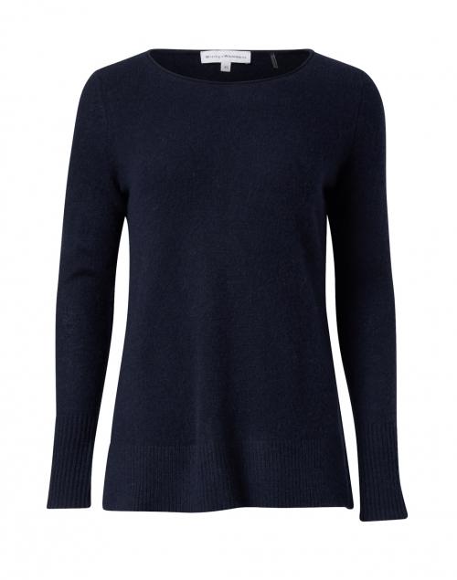 White + Warren - Navy Cashmere Open Slit Sweater