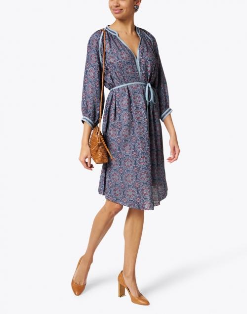 Megan Park - Melike Purple and Blue Mosaic Print Cotton Dress