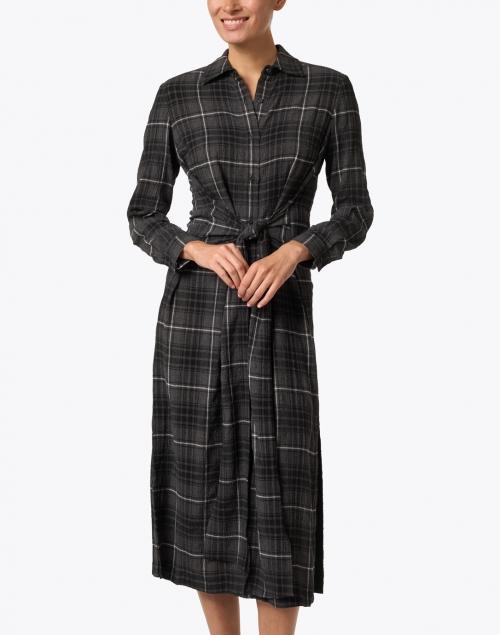 Santorelli - Patty Charcoal Crinkled Plaid Dress