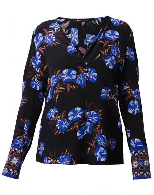 Kobi Halperin - Andes Black and Blue Floral Silk Blouse