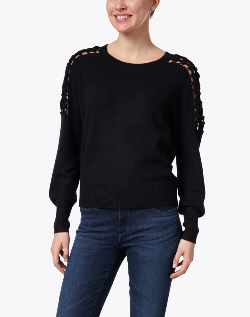 White + Warren - Black Macrame Sleeve Cashmere Sweater