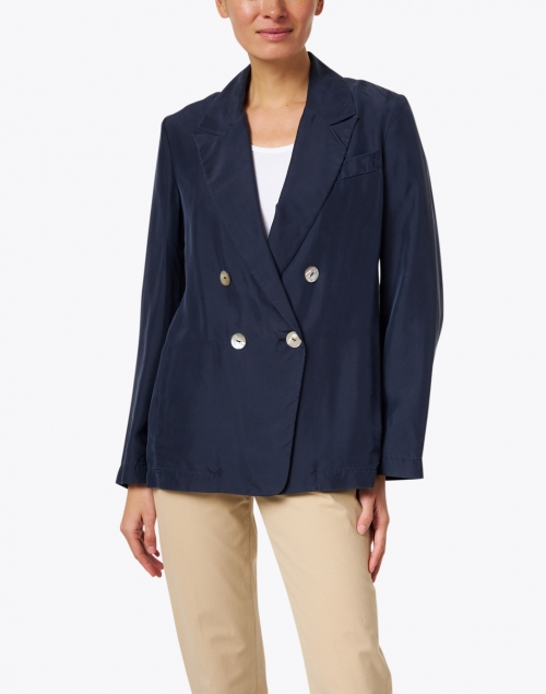 Vince - Navy Silk Double Breasted Blazer