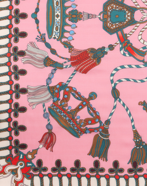Rani Arabella - Pink Crown and Tassel Printed Silk Cashmere Scarf