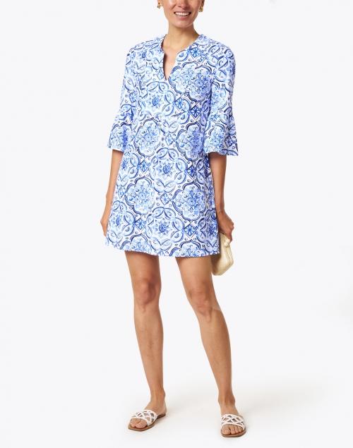 Jude Connally - Kerry Blue Tile Print Dress