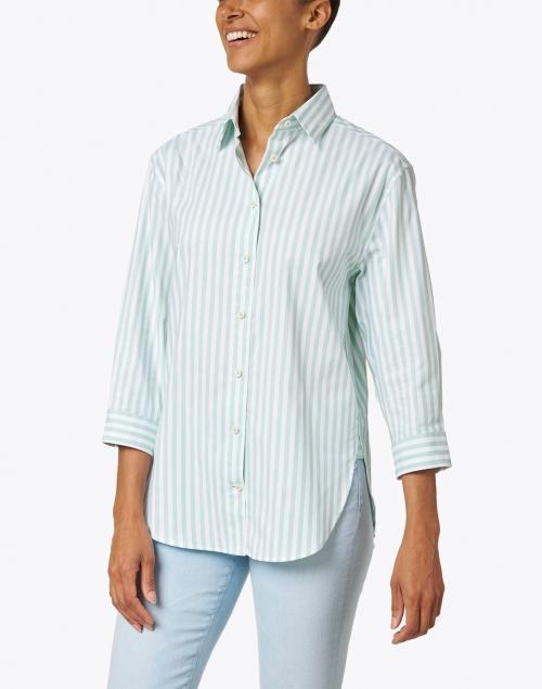 Hinson Wu - Halsey Mint and White Stripe Stretch Cotton Shirt