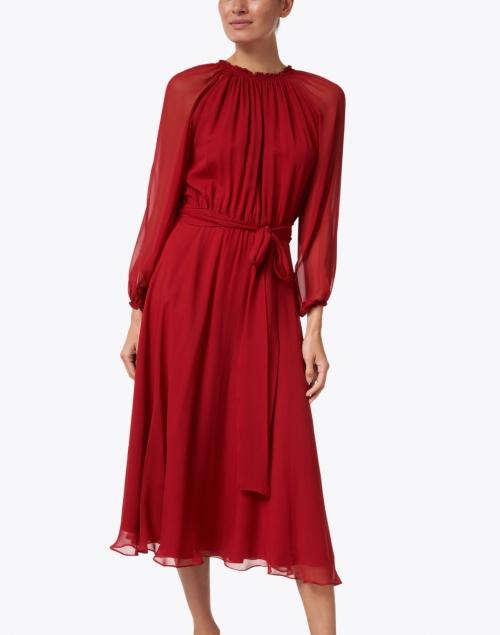 Soler - Raquel Bea Burgundy Silk Midi Dress