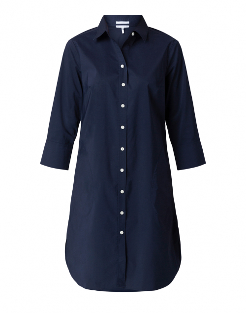 Hinson Wu - Kathleen Navy Luxe Stretch Cotton Shirt Dress