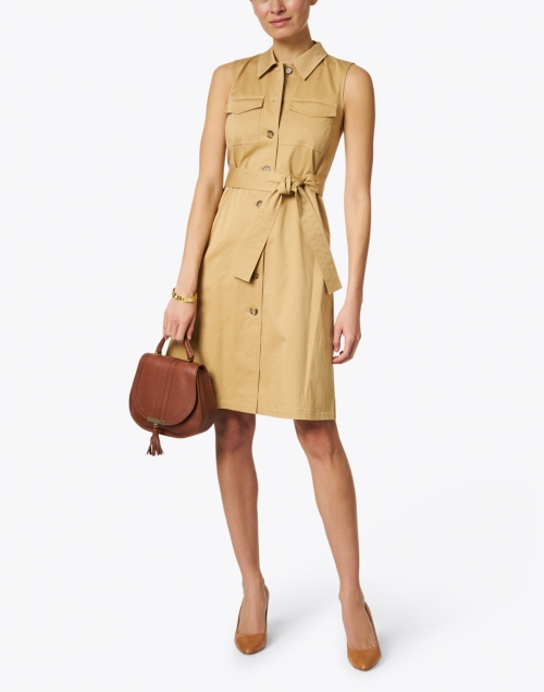 Lafayette 148 New York - Sonny Honeynut Beige Stretch Cotton Shirt Dress