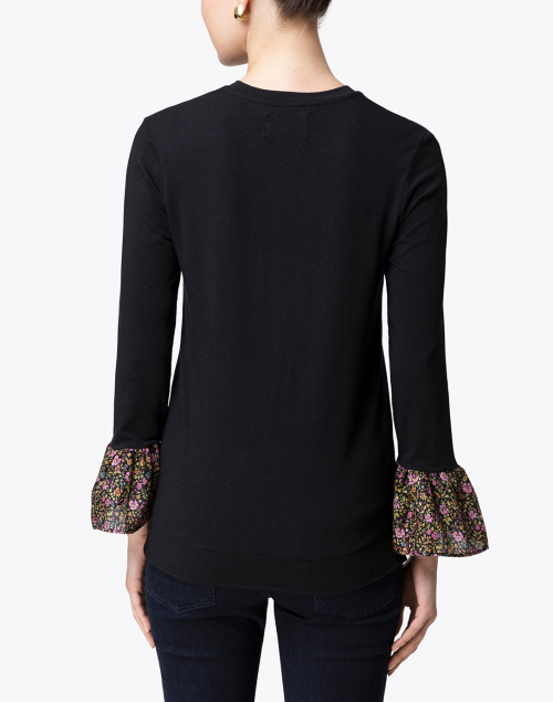 Southcott - Black Bamboo Cotton Top with Bell Cuffs