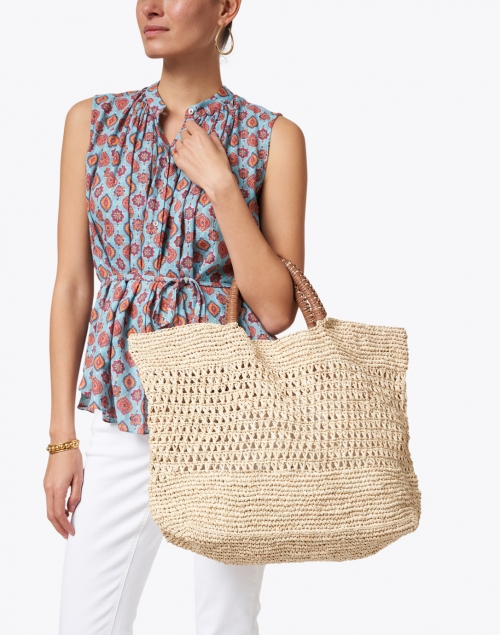 Kayu - Mara Natural Woven Raffia and Leather Tote