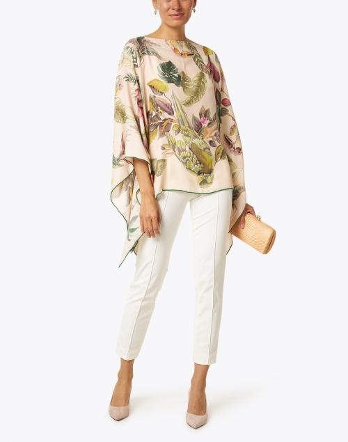 Rani Arabella - Pink Bird and Palm Printed Cashmere Silk Wool Poncho