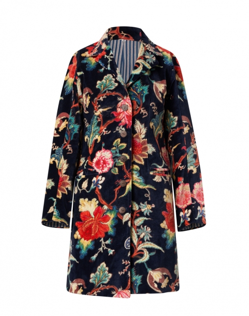 Ro's Garden Diana Black and Multi Floral Print Velvet Coat
