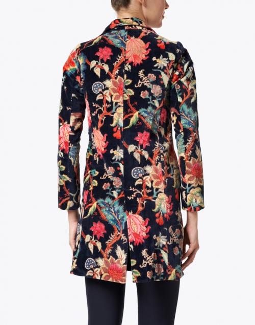 Ro's Garden - Diana Black and Multi Floral Print Velvet Coat