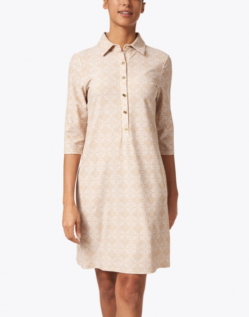Jude Connally - Susanna Sand Beige Medallion Printed Henley Dress