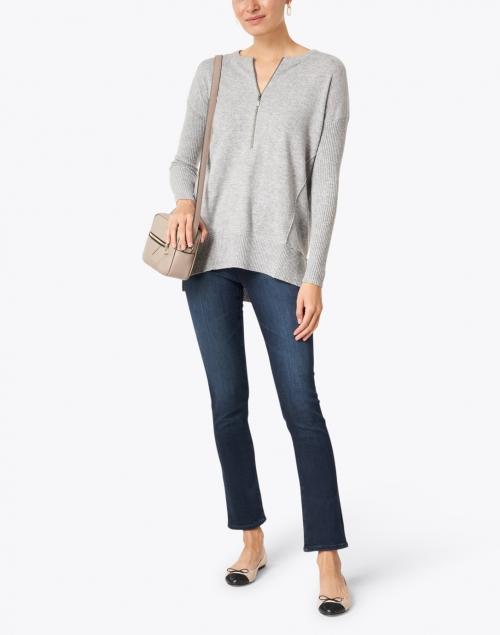 Kinross - Light Grey Zip Up Cashmere Henley Sweater