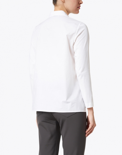 WHY CI - White Embroidered Stretch Cotton Shirt