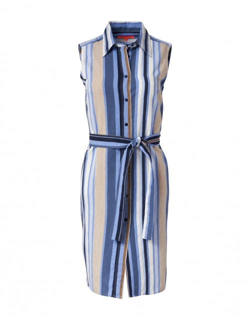 Vilagallo - Mariya Blue, Navy and Beige Stripe Shirt Dress