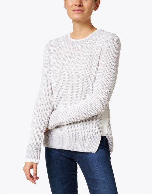 Marc Cain Sports - Light Grey Wool and Cashmere Waffle Knit Sweater