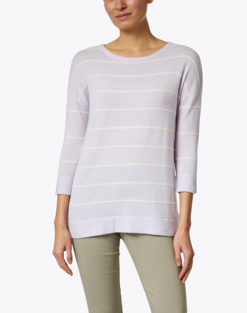 Kinross - Lilac and White Stripe Cashmere Sweater