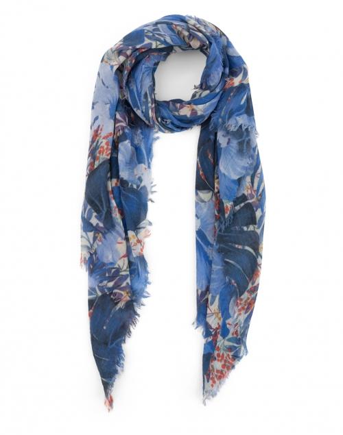Tilo Blue Leaf Printed Wool and Silk Scarf