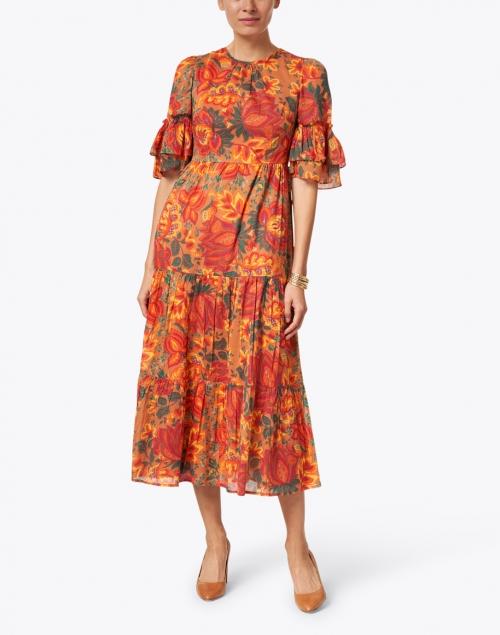 Banjanan - Faith Orange Floral Printed Cotton Viole Maxi Dress