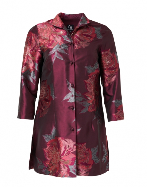 Connie Roberson - Rita Red Metallic Floral Silk Jacket