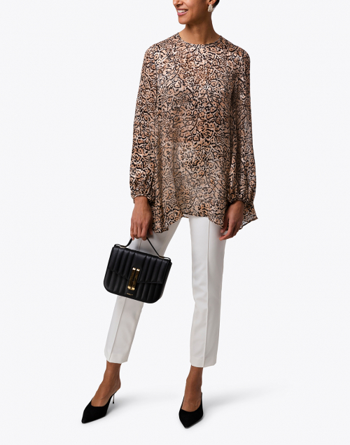 Max Mara Studio - Antares Beige and Black Animal Print Top
