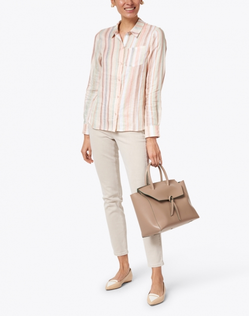 Ecru - Streep Watercolor Stripe Printed Linen Shirt