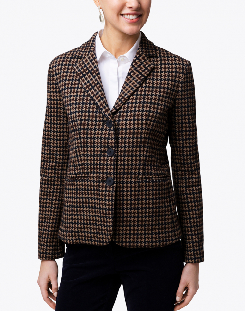Weekend Max Mara - Caracas Brown Houndstooth Print Cotton Blazer