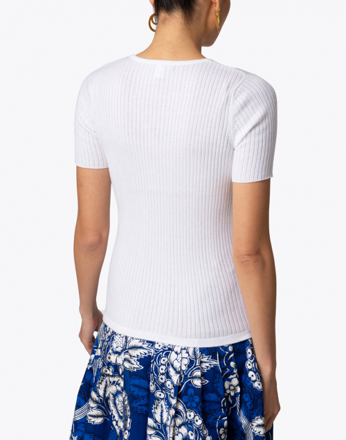Blue - White Ribbed Cotton Top