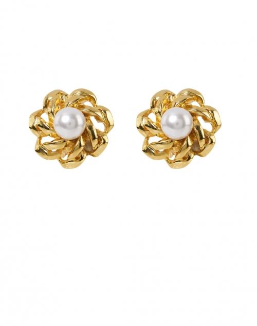 Kenneth Jay Lane -  Gold Pearl Center Flower Clip-On Earrings