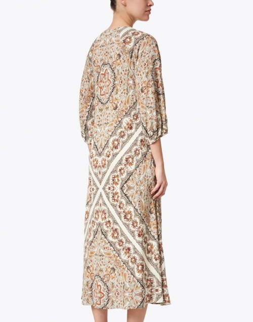 Warm - Nomad Ivory and Orange Paisley Silk Maxi Dress