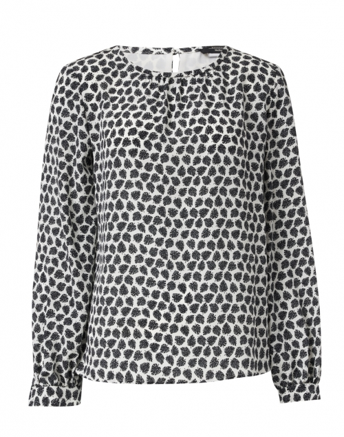 Weekend Max Mara - Morina Black and White Floral Print Silk Blouse