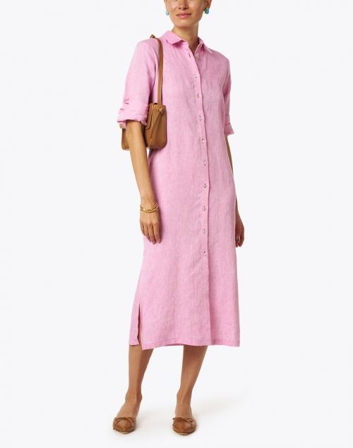 120% Lino Orchid Linen Shirt Dress