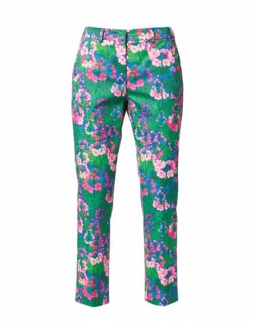 Weekend Max Mara - Golden Pink and Multi Floral Print Stretch Cotton Pant