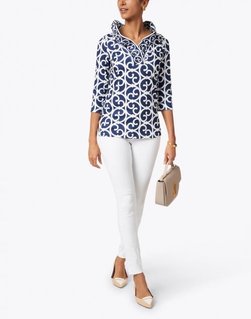 Gretchen Scott - Navy and White Printed Ruffle Neck Top
