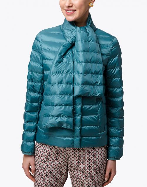 Weekend Max Mara - Beirut Blue Puffer Jacket with Neck Tie