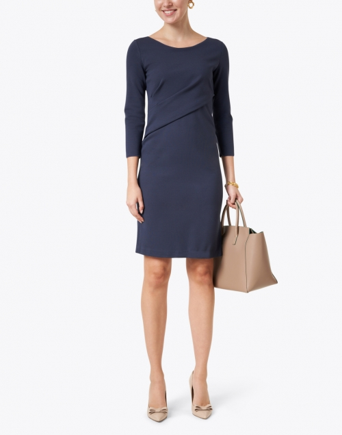 Emporio Armani - Navy Ruched Jersey Dress