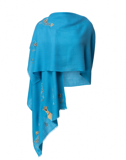 Janavi - Blue Embellished Alpaca Wool Shawl
