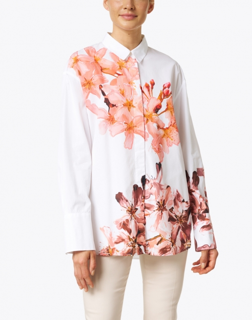 Marc Cain - White and Pink Floral Print Cotton Blouse