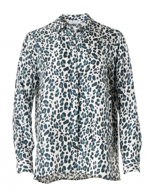Rosso35 - Grey and Blue Animal Print Silk Twill Blouse