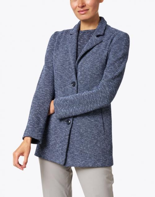Amina Rubinacci - Felce Navy Chevron Knit Jacket