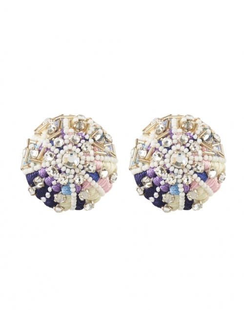 Mignonne Gavigan - Sea Urchin Blue and Violet Beaded Clip-On Earrings