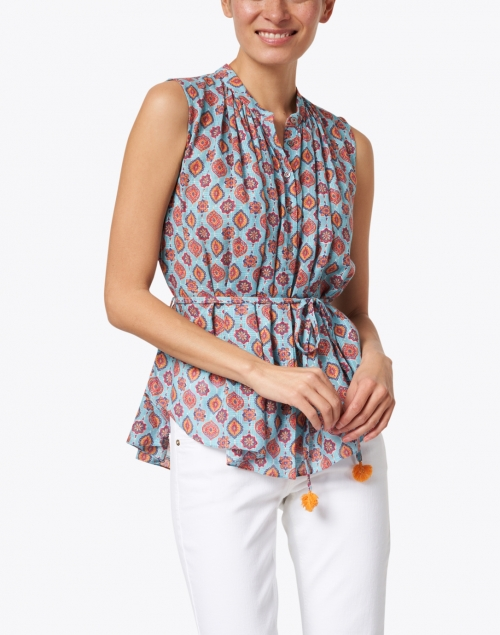 Megan Park - Azra Turquoise Tile Print Cotton Top