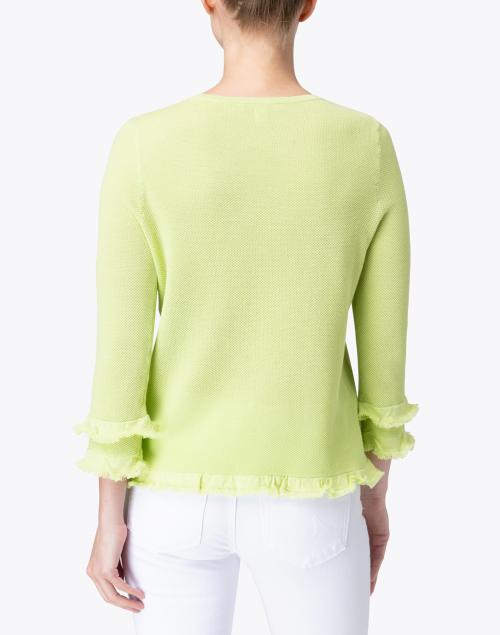 Belford - Apple Green Cotton Ruffle Sleeve Sweater