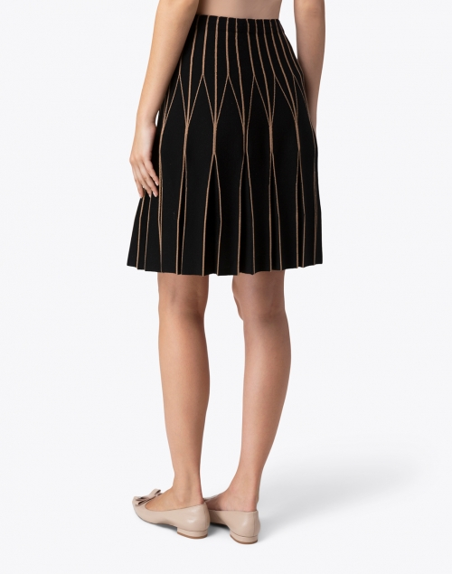 D.Exterior - Black and Camel Double Merino Linear Motif Skirt