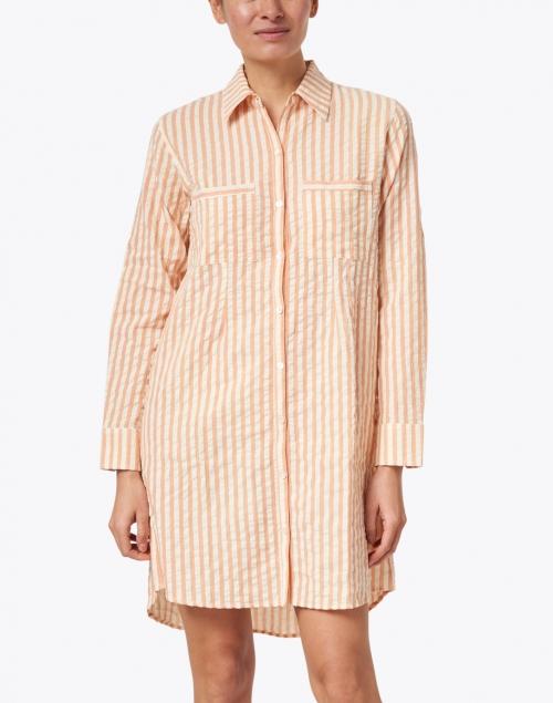 Roller Rabbit - Coral Striped Seersucker Cotton Dress